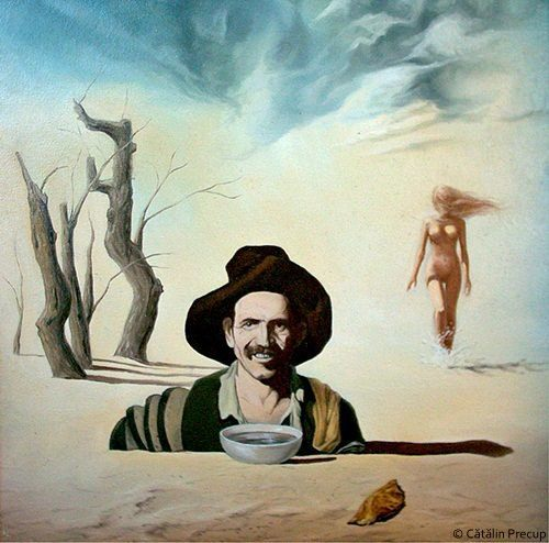 A surrealist painting by Cătălin Precup of a man in a desert with a nude woman walking behind him