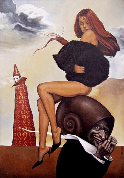 A surrealist painting by Cătălin Precup of a nude woman on a snail shell with a wizard in the background