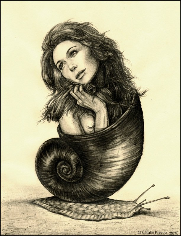 A surrealist painting by Cătălin Precup of a woman emerging from a snail shell