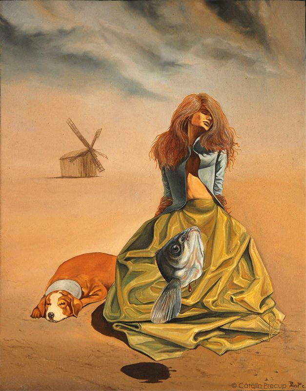 A surrealist painting by Cătălin Precup of a woman in a desert with a dog and a fish