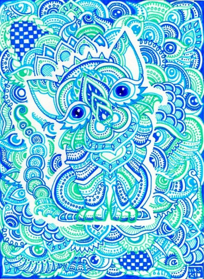 A trippy psychedelic drawing by Japanese artist Lutamesta of a blue cat surrounded by paisley patterns