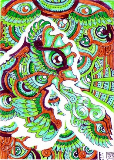 A trippy psychedelic drawing by Japanese artist Lutamesta of a green dragon breathing wind