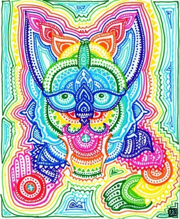 A trippy psychedelic drawing by Japanese artist Lutamesta of a rainbow cat in a style that is reminiscent of Louis Wain