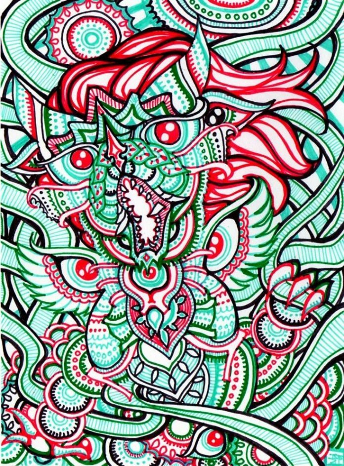 A trippy psychedelic drawing by Japanese artist Lutamesta of a roaring cat dragon