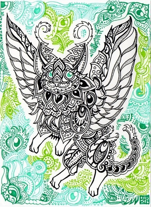 A trippy psychedelic drawing by Japanese artist Lutamesta of a winged cat in a tribal style that is perfect for tattoo designs