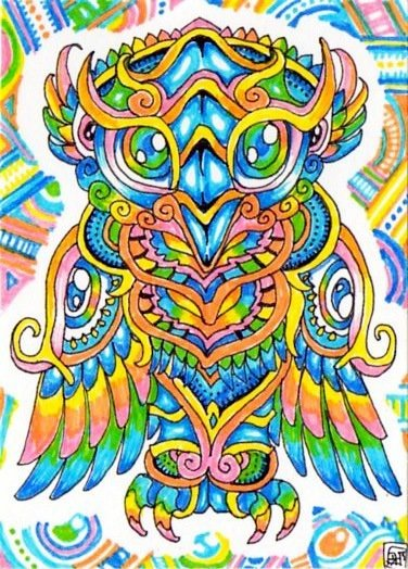 A trippy psychedelic drawing by Japanese artist Lutamesta of an owl with patterns on its body