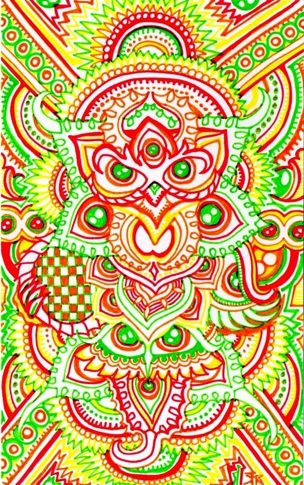 A trippy psychedelic drawing by Japanese artist Lutamesta of owls and flowers
