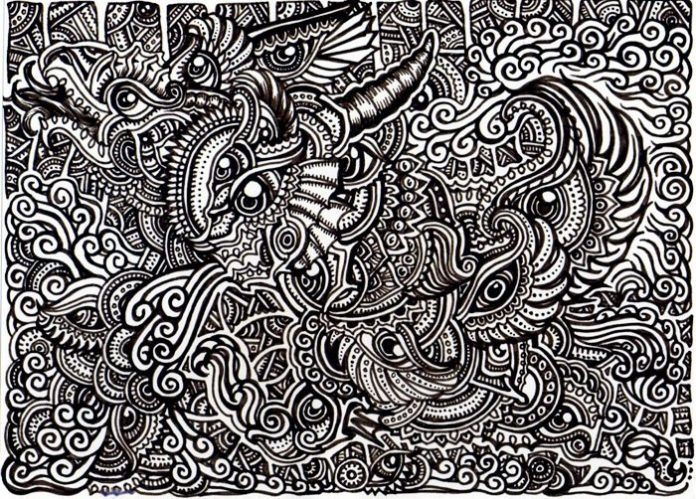 A trippy psychedelic drawing by Japanese artist Lutamesta of various fantasy creatures