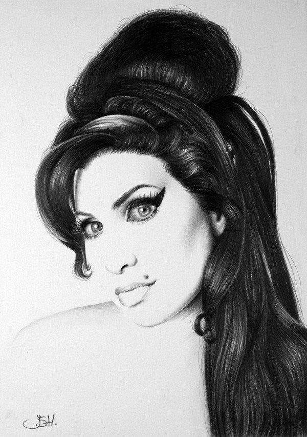 An amazing photorealistic pencil drawing by Ileana Hunter of Amy Winehouse