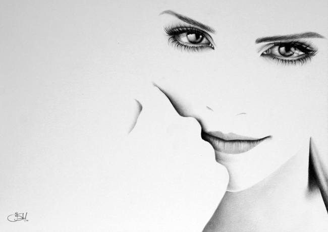 An amazing photorealistic pencil drawing by Ileana Hunter of Emma Watson