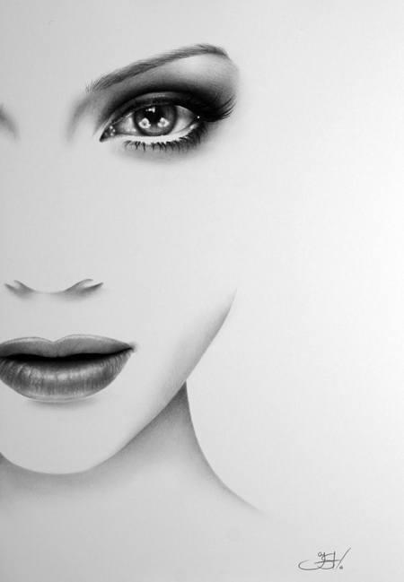 An amazing photorealistic pencil drawing by Ileana Hunter of Jennifer Lopez