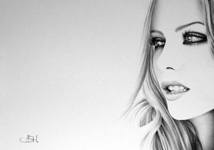 An amazing photorealistic pencil drawing by Ileana Hunter of Kate Beckinsale