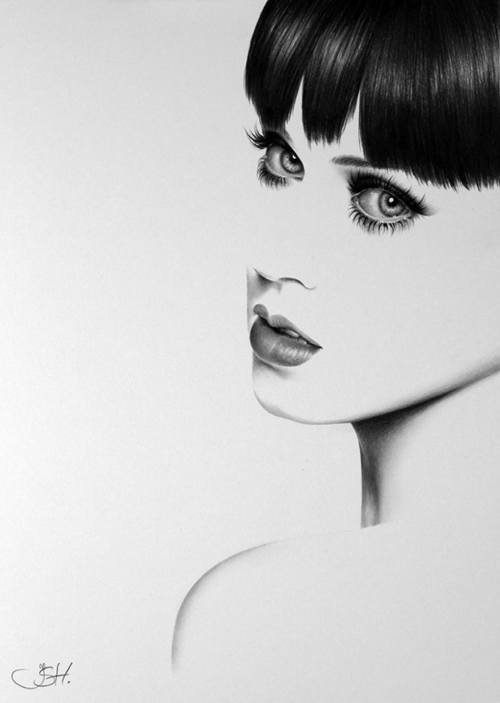 An amazing photorealistic pencil drawing by Ileana Hunter of Katy Perry