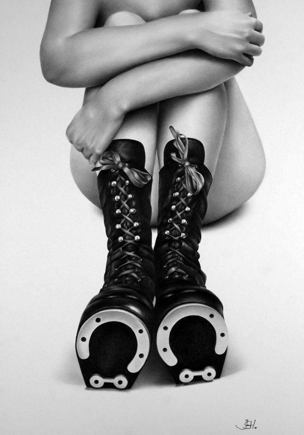 An amazing photorealistic pencil drawing by Ileana Hunter of a nude woman in pony boots