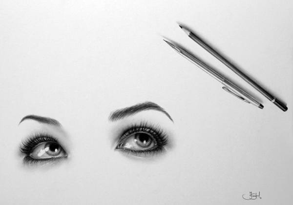 An amazing photorealistic pencil drawing by Ileana Hunter of beautiful eyes