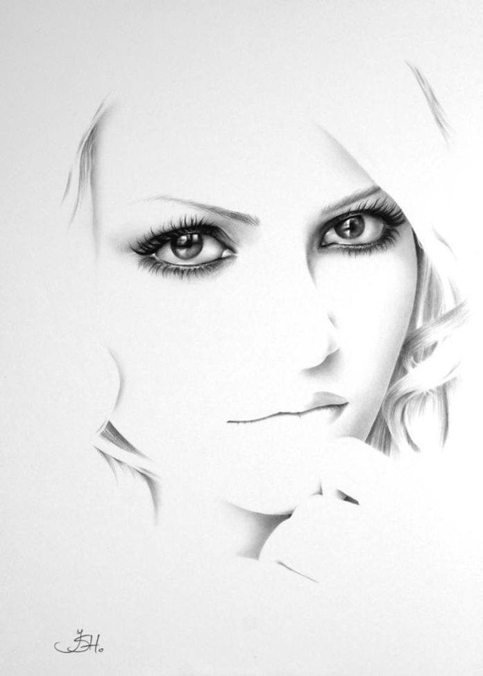 An amazing photorealistic, self-portrait pencil drawing by Ileana Hunter