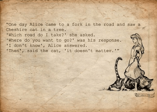 An inspirational quote from the Lewis Carroll book Alice in Wonderland about the journey of life