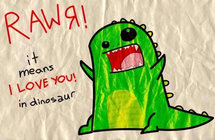 rawr means I love you in dinosaur, a cute valentine for geeky couples