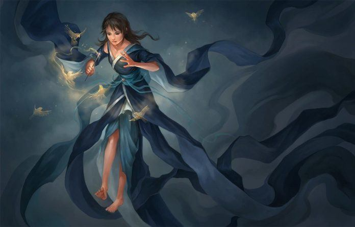 A digital fantasy painting of a girl using magic to harness the spirits of birds