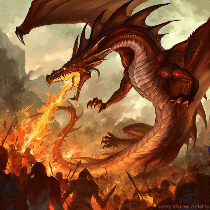 A digital painting of a fire breathing dragon by fantasy artist Sandara