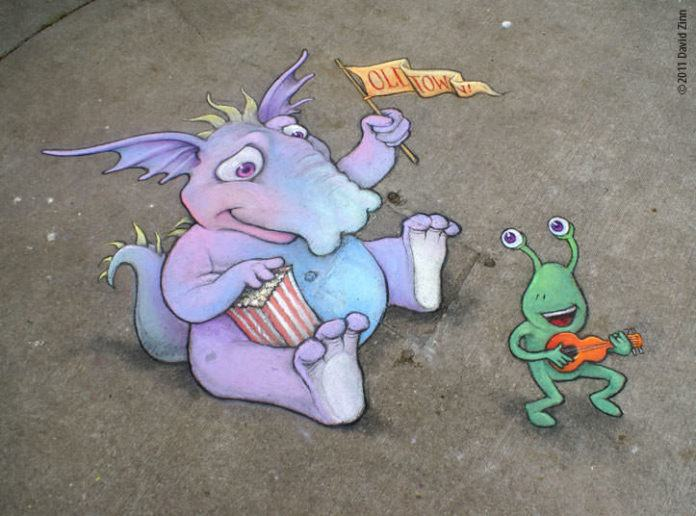 A dragon and an alien dance to old town ukulele music in this graffiti chalk art work by David Zinn