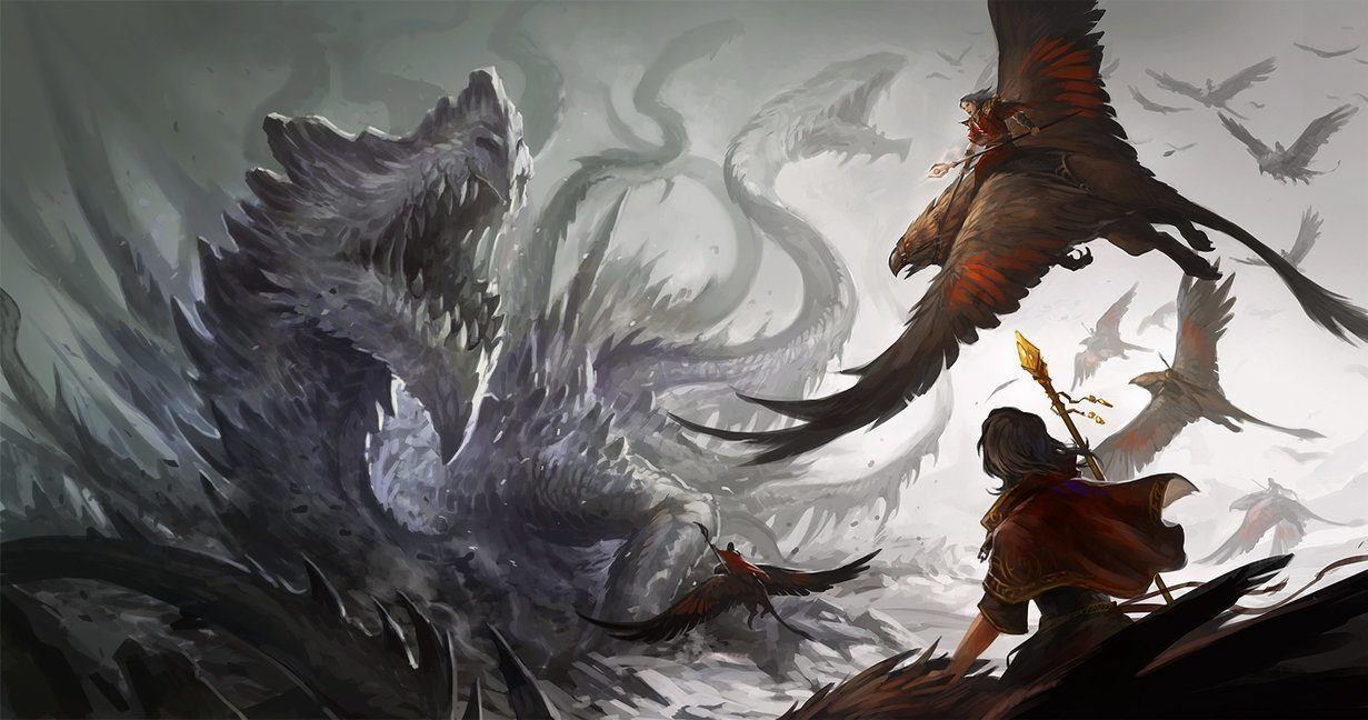 A Dramatic Digital Fantasy Painting Of Dragon And Giant