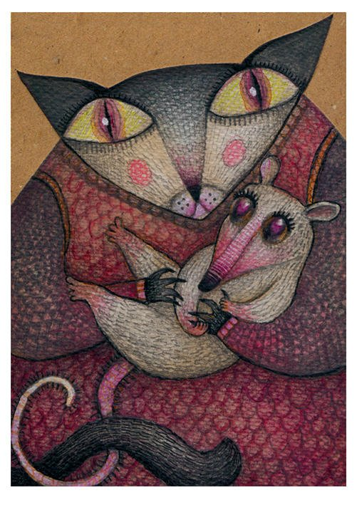 A drawing by Vladimir Stankovic of a cat holding a baby rat