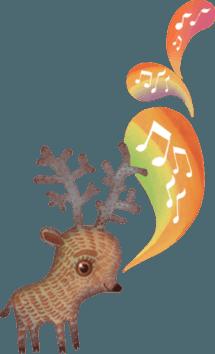 A drawing by Vladimir Stankovic of a cute reindeer singing