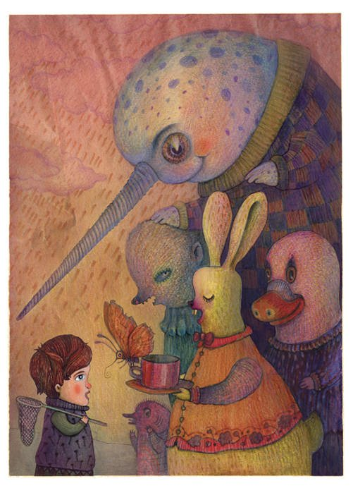 A drawing by Vladimir Stankovic of a narwhal and a bunny giving a kid a cup of tea