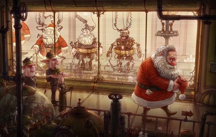 A funny Photoshop illustration by Michal Dziekan of Christmas elves making robot Santas