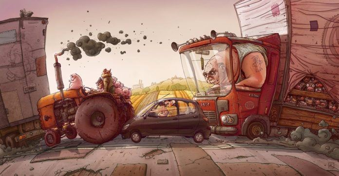A funny Photoshop illustration by Michal Dziekan of a couple trapped in a tiny car between two huge farming machines