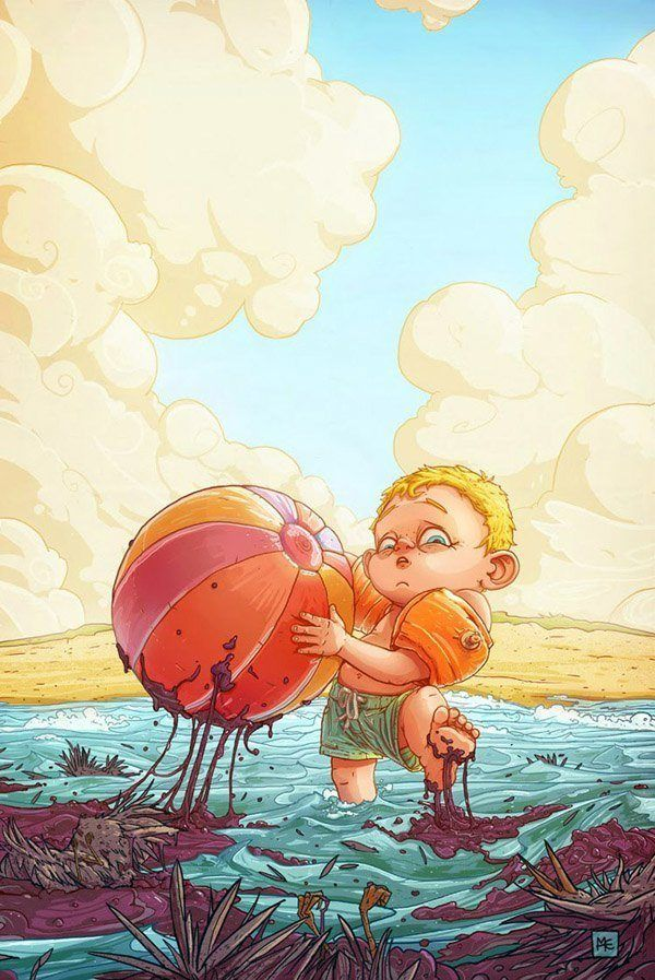 A funny Photoshop illustration by Michal Dziekan of a little boy on the beach getting covered in oil