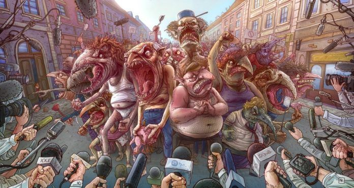 A funny Photoshop illustration by Michal Dziekan of a mob of monsters and news reporters