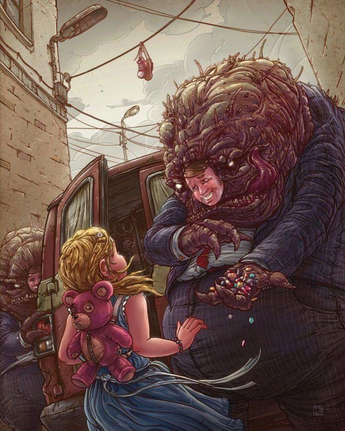 A funny Photoshop illustration by Michal Dziekan of a monster disguised as a human man giving candy to a little girl