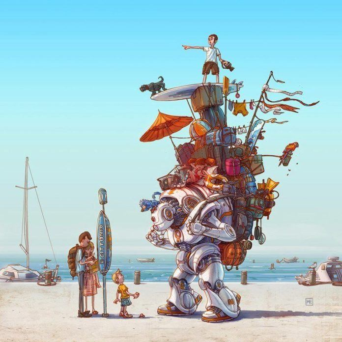 A funny Photoshop illustration by Michal Dziekan of a transformer taking his humans on holiday