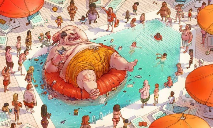 A funny Photoshop illustration by Michal Dziekan of an enormous fat man in a pool smoking a cigar
