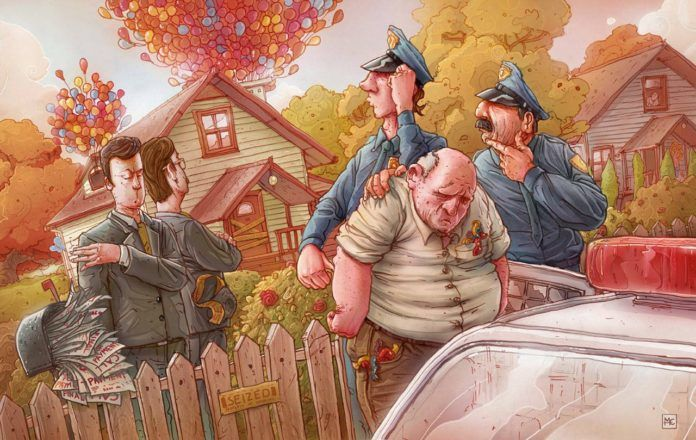 A funny Photoshop illustration by Michal Dziekan of the old guy from UP getting arrested for attaching balloons to his house