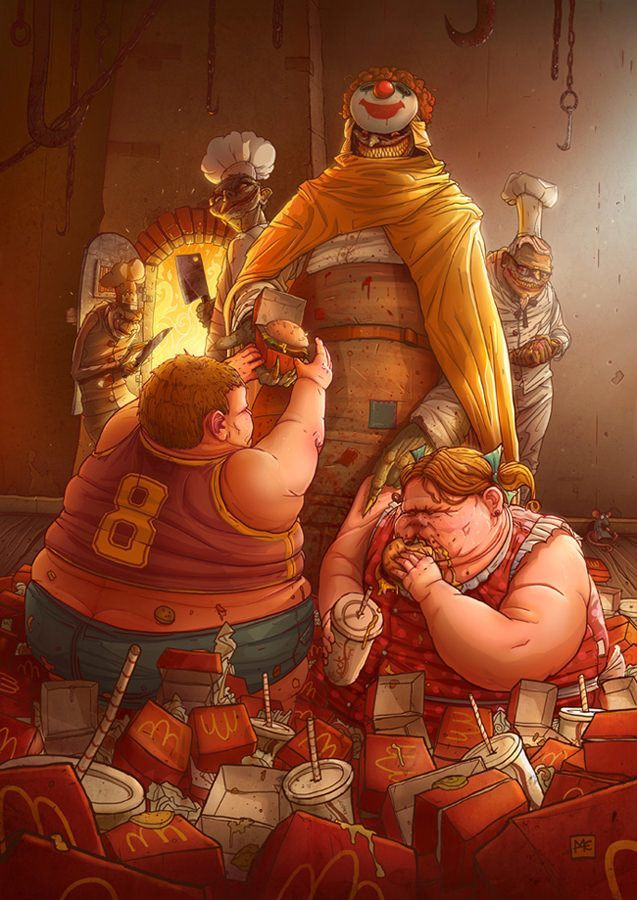 A funny Photoshop illustration by Michal Dziekan of two fat kids eating macdonalds