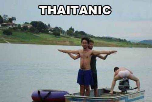 A funny photo spoof of the Titanic film, shot in Thailand with the title THAITANIC
