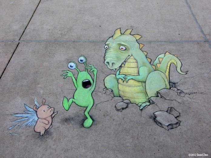 A funny street art graffiti drawing by David Zinn of an alien, a flying pig and a sheepish dragon