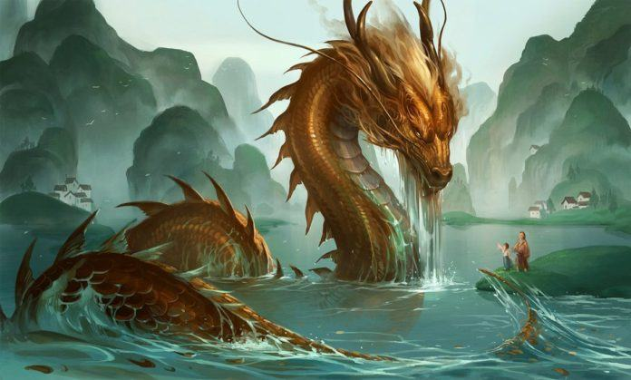 A japanese dragon rises from the river to greet a father and child in this fantasy painting by Sandara