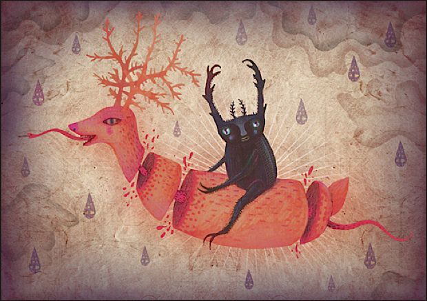A painting by Vladimir Stankovic of a beetle humanoid riding a surreal reindeer witha serpent tongue