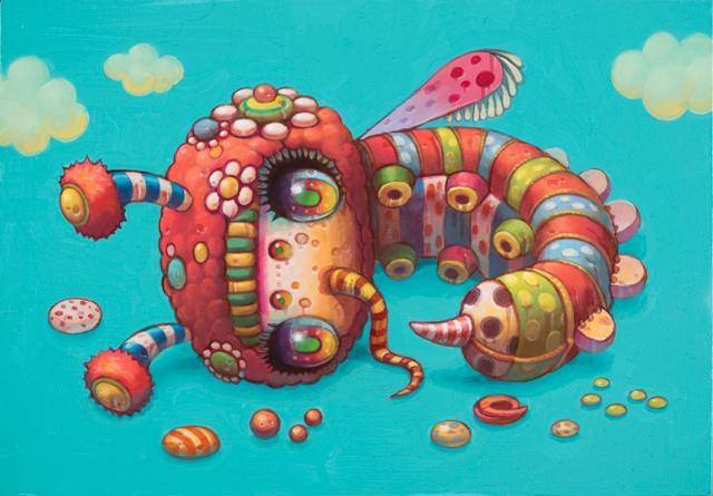 A psychedelic pop surrealism painting by Yoko D'Holbachie of a cute alien insect creature