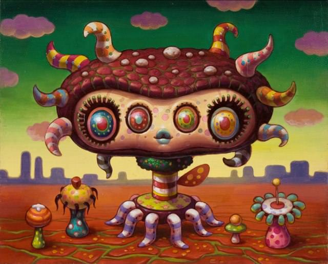 A psychedelic pop surrealism painting by Yoko D'Holbachie of a cute alien with four eyes