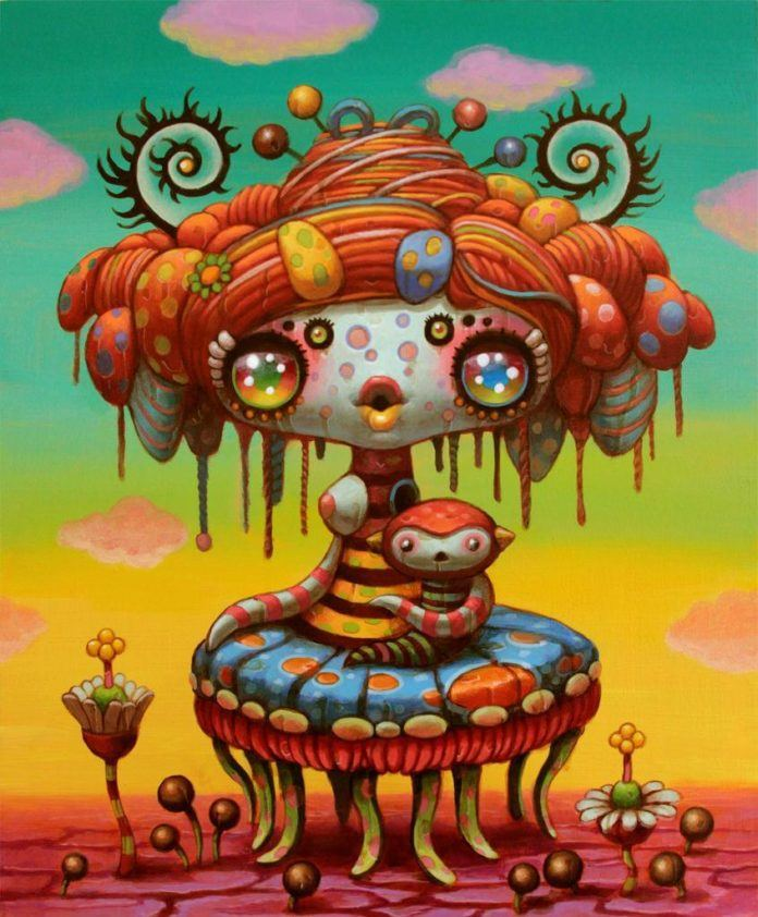 A psychedelic pop surrealism painting by Yoko D'Holbachie of a cute alien with tentacles holding a doll