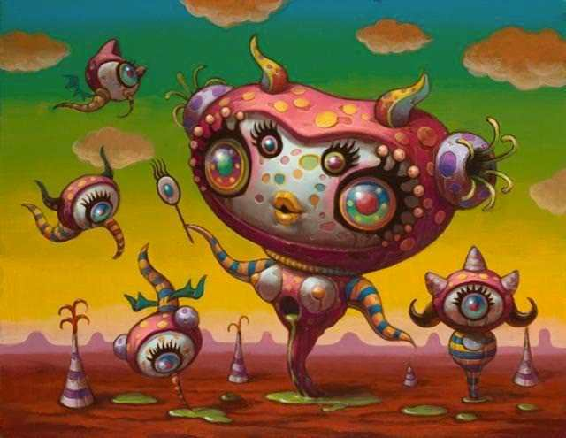 A psychedelic pop surrealism painting by Yoko D'Holbachie of a cute and feminine alien creature