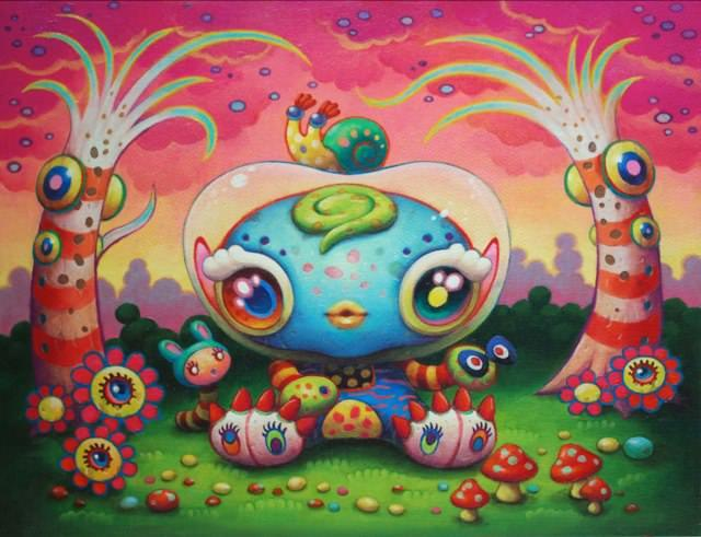 A psychedelic pop surrealism painting by Yoko D'Holbachie of a cute character with big eyes