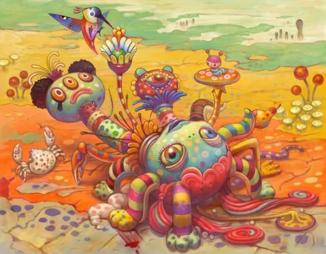 A psychedelic pop surrealism painting by Yoko D'Holbachie of a doll lying in a desert