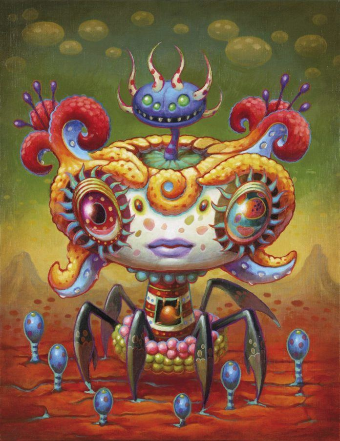 A psychedelic pop surrealism painting by Yoko D'Holbachie of an insect alien creature with trippy eyes