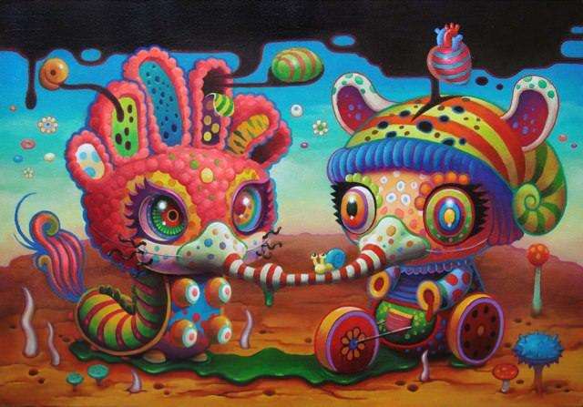 A psychedelic pop surrealism painting by Yoko D'Holbachie of two cute and trippy characters joined by gas masks